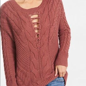 Express cable knit deep V sweater